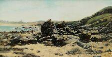 ADAM d'après Henry SAINTIN tableau paysage Bretagne ERQUY rochers plage France