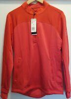 NWT Adidas Golf Men Jacket Sweatshirt Go-To 1/4 zip Red Sz Small MSRP $90