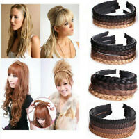 Womens Long No-Bangs Headband Wig Braid Hair Bands Hair Rope Hair Accessories