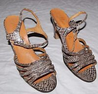 Vintage Snake Skin Sandals Pumps Shoes Italy Italian Leather 5 Brown Cream Gray