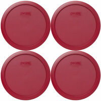 Pyrex 7402-PC Sangria Red Plastic Round Storage Replacement Lid Cover (4-Pack)