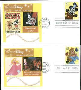 US FDC #4342 - #4345 Set of 4 Paul Gerwitz Cachet  Anaheim, CA  Walt Disney