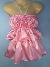 pink satin fetish skirt +top  tutu adult baby maid sissy cd tv any colour size