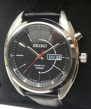 Seiko Men's Kinetic Black Dial Black Strap Watch - SMY119P2. New In Box. 655