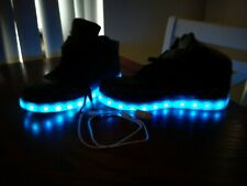 Odema Flashing LED High Top Black Shoes Sneakers Light Up Shoes Euro 44 Mens 10