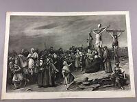 Christ On Calvary M. Munkacsy Photogravure Gebbie&Husson Art Etching Print