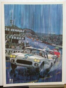 1960 Corvette At Le Mans George Bertels Print Poster Chevrolet John Fitch Signed