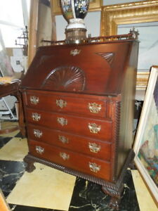 R.J. Horner,Antique, Mahogany, Chippendale, Slantfront Desk, Carving and Gallery