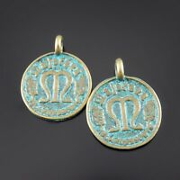 Wholesale 40 pcs Antiqued Zinc Alloy Coin Look Charms Pendant Jewelry Findings