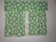 New listing Nos Vintage 1960s Groovy Green Daisy Flower Power Curtain Panels & Valance