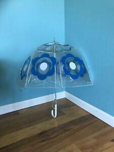 Vintage Mod 60's Clear transparent Umbrella dome bubble Dots Flowers