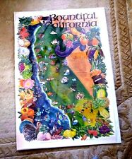 LOVELY CARTOON MAP OF CALIFORNIA FRUITS PRODUCE MINER LIFE STYLE BOUNTIFUL CAL