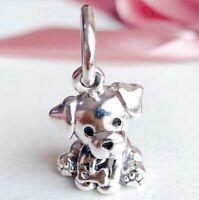 925 Sterling Silver Labrador Puppy Dangle Charm Bead Fit Snake bracelet 2019 NEW