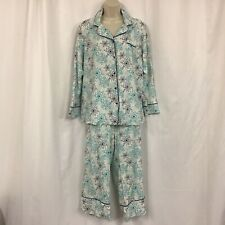 Lane Bryant Cacique Blue Green SnowFlake Pajama Set Button Long Sleeve 14/16