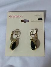 Xhilaration Goldtone Drop Earrings with Black Faceted Faux Teardrop Stones New