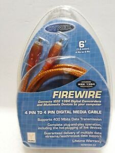 Dynex 6 foot 1394 Male To 4-Pin Male Firewire 400 Orange Cable 4 Pin IEEE