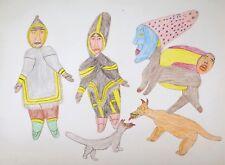 Francoise Oklaga? Original Color Pencil Drawing Inuit Canada Modernist Folk Art