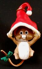 1989 Hallmark Hang In There Christmas Ornament -Mouse Hanging From Santa's Hat