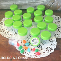 12 Tiny Pill Bottle Plastic JARS Lime Green Caps 1/2oz Travel 3304 DecoJars USA