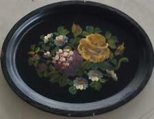 Antique Tole Painted Decorative Tray - BEAUTIFUL TRAY - VERY OLD - MULTI FLORAL