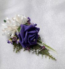 Wedding flower buttonhole Purple rose & ivory....PIN ON