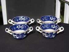 Set 4 Copeland Spode Tower Blue Older Markings Gadroon Bouillon Cups