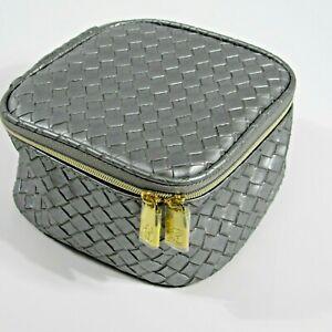 "Estee Lauder Makeup Bag Train Case Style Grey Woven Design 6""x6""x3"""