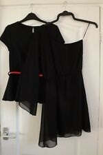 2 x LONGER LENGTH BLACK TOPS  -  SIZE 10