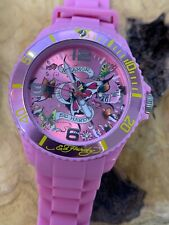 Ed Hardy Pink Silicone Water Resistant Watch VERY NICE!!!
