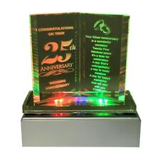 25th Silver Wedding Anniversary Led 4 Color Book Plaque with Poem