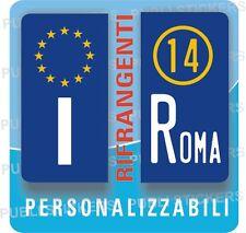 2 ADESIVI TARGA MOTO EUROPA RIFRANGENTI CON ANNO, PROVINCIA,STEMMA,FREGIO,TUNING
