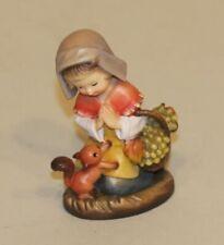 Anri Carving Ferrandiz 3 Inch Nativity Girl Kneeling Squirrel Basket 55710/16