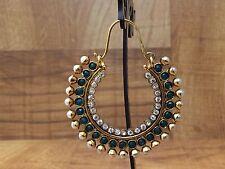 Green CHAND BALI Bollywood Jhumki Jhumka Hook Pearl Moti Stone Earring