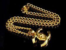 100% Auth CHANEL Gold-Tone Chain Coco Mark CC Logo Pendant Necklace N153