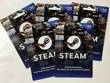 STEAM Gift Cards $20 x 5 Unscratched Authentic