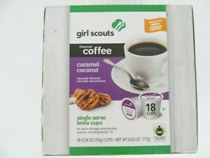 Girl Scouts Caramel Coconut Cookie Flavored Coffee Single Serve 18 Brew Cups Box