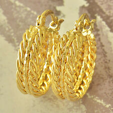Authentic Fashion Yellow Gold Plated Embossed Womens vintage Hoop Earrings lucky