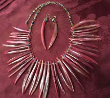 New-Iridescent Pink Mother of Pearl Shell Necklace & Earrings Set -Jewelry