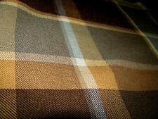 Lee Jofa Gastaad 100% Wool Plaid Tartan Dusk Blue/Brown/Tan Fabric Remnant