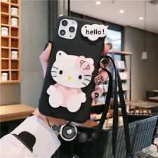 Cute Cartoon Happy Kitty Cat Soft Case Cover for Motorola  Mirror Neck Strap