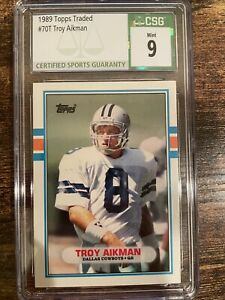 1989 Topps Traded Troy Aikman Rookie Football Card #70T CSG 9 Mint