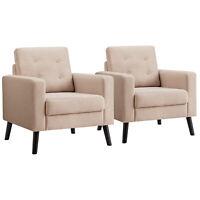 2PCS Modern Tufted Accent Chair Fabric Armchair Single Sofa w/Back Cushion Beige
