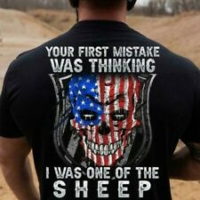 Skull Your First Mistake Was Thinking I Was One Of The Sheep Tshirt Men Black