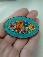 Vintage Signed Italy Micro Glass Mosaic Multi Coloured Flower C Clasp Brooch Pin