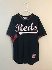 Men's Majestic Cincinnati Reds Team Issued Black Baseball Jersey Sz 44 EUC