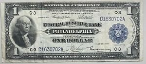 1918 $1 Federal Reserve Bank of Philadelphia Large Size National