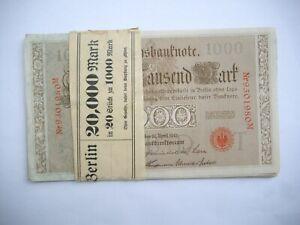 Reichsbanknoten 20 x 1000 Mark 21.4.1910 mit Banderole