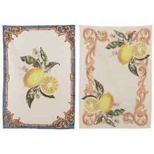 Geschirrtuch Set (2 Stück) Limone Zitrone mediterran, Blanc Mariclo
