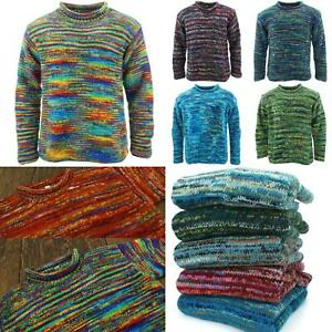 Chunky Wool Knit Jumper Space Dye Stripes Pattern Rainbow Retro Knitted Sweater