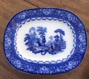 Antique Royal Doulton Flow Blue Small Meat Platter Watteau French Scene 1914